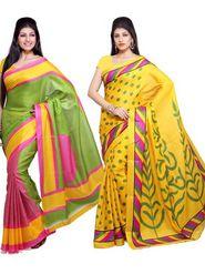 Combo Of 2 Ishin Bhagalpuri Silk Printed Saree - 12445693