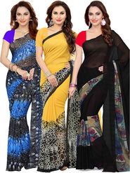 Combo of  3 Ishin Printed Faux Georgette Women's Sarees -is04