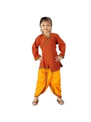Little India Pure Cotton Printed Angrakha Dhoti - Red & Yellow