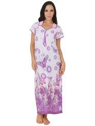 Fasense Shinker Cotton Floral Print Nightwear Long Nighty -DP150A1