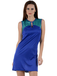 Arisha Viscose Solid Dress DRS1008_Blu