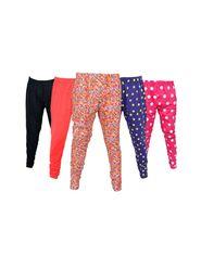Pack of 5 Little Star Girl's Multicolor Leggings - DWLF_3005_Multi