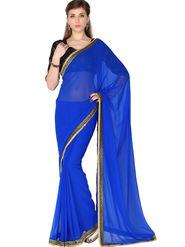 Designersareez Faux Georgette Embroidered Saree - Blue - 1782