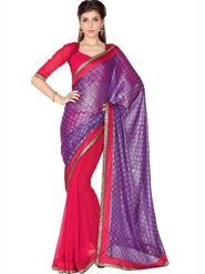 Designersareez Viscose Jaquard & Faux Georgette Embroidered Saree - Violet & Red