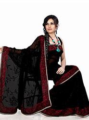 Designer Sareez Embroidered Faux Georgette Saree - Black-541
