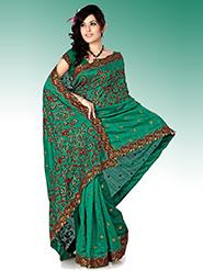 Embroidered Bhagalpuri Silk Saree - Bottle Green