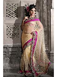 Embroidered Net Saree - Beige-918