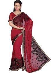 Designer Sareez Faux Georgette Embroidered Saree - Maroon - 1582