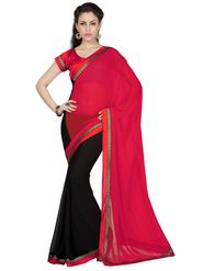 Designer Sareez Faux Georgette Embroidered Saree - Tomatto Red & Black - 1686