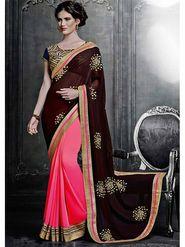 Viva N Diva Georgette Embroidered Saree -Dramatic-5095