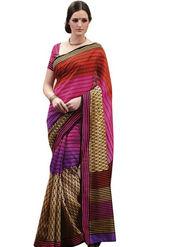 Ethnic Trend Cotton Printed Saree - Multicolour - 10027