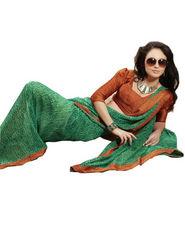 Ethnic Trend Chiffon Printed Saree - Multicolour - 11010