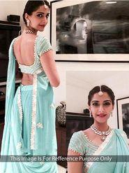 Ethnic Trend Chiffon Embroidered Saree - Light Sky Blue