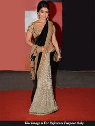Ethnic Trend Velvet-Net Butti Embroidered Saree - Black & White - 387
