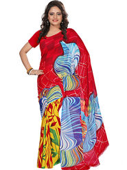 Florence Faux Georgette  Printed  Sarees FL-3186-C