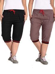 Combo of 2 Comfort Fit Cotton Capris for Women_pf02