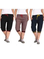 Combo of 3 Comfort Fit Cotton Capris for Women_pf08