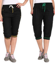 Combo of 2 Comfort Fit Cotton Capris for Women_pf03