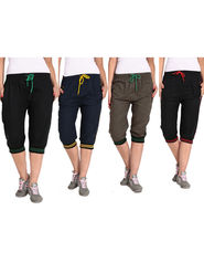 Combo of 4 Comfort Fit Cotton Capris for Women_pf11