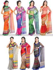 Fabulous Set of 7 Printed Kota Doria Sarees (7K3)