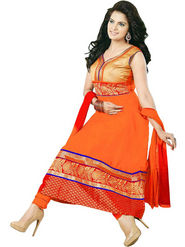 Florence Cambric Cotton Embroidered Dress Material - Orange - SB-2080