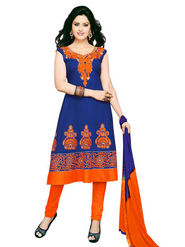 Florence Combric Cotton Embroidered Dress Material - Blue - SB-2086