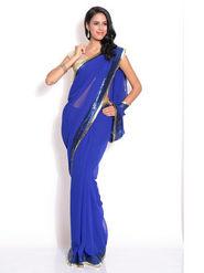 Silkbazar Georgette Embroidered Saree - Blue - FL-1569-SEP