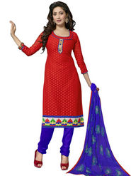 Florence Chiffon Embroidered Dress Material - Red - SB-1721