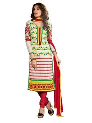 Florence Chanderi Cotton Embroidered Dress Material - Multicolour - SB-1758
