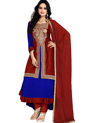 Florence Georgette Embroidered Dress Material - Blue with Red