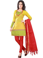 Florence Cotton Printed Dress Material - Yellow & Red - SB-2753