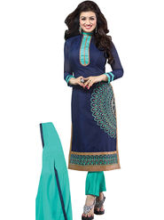 Florence Cotton Embroidered Dress Material - Blue - SB-2810