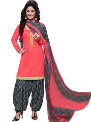 Florence Cotton Printed Dress Material - Pink - SB-2827