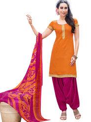 Florence Cotton Printed Dress Material - Orange - SB-2834