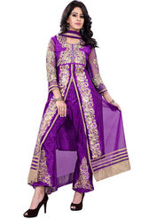 Florence Net + Georgette Embroidered Dress Material - Purple - SB-2711