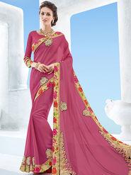 Indian Women Emboridered Chiffon Pink Designer Saree -Ga20512