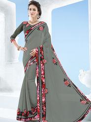 Indian Women Emboridered Chiffon Grey Designer Saree -Ga20515