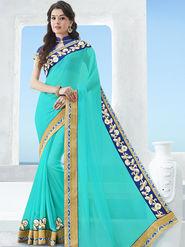 Indian Women Emboridered Chiffon Cyan Designer Saree -Ga20517