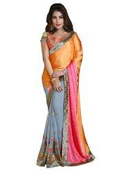Khushali Fashion Embroidered Georgette Half & Half Saree_KF47