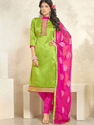 Viva N Diva Banglori Silk Patch Work Unstitched Dress Material Gazee-8001