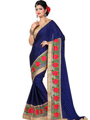 Shonaya Embroidered Crepe Jacquard Blue Saree -Hikbr-3003