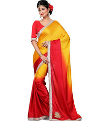 Shonaya Embroidered Crepe Jacquard Red & Yellow Saree -Hikbr-3013