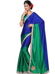 Shonaya Embroidered Crepe Jacquard Green & Blue Saree -Hikbr-3014