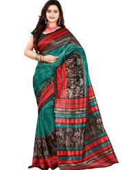 Inddus Bhagalpuri Silk Printed Saree - Red - IND-BC-12017-B