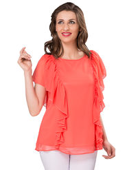 Ishin Georgette Solid Top - Peach_INDWT-5041
