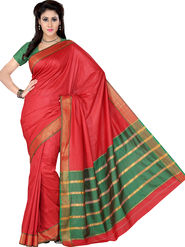 Ishin Polyester Printed Saree - Red - STCS-2135