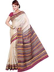 Ishin Printed Bhagalpuri Silk Saree - Cream