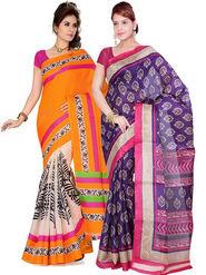 Combo Of 2 Ishin Bhagalpuri Silk Printed Saree - Combo-385