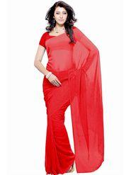 Khushali Fashion Georgette Plain Saree(Red)_JAZZ525