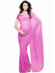 Khushali Fashion Georgette Plain Saree(Pink)_JAZZ535